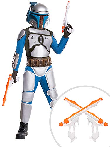 Star Wars Jango Fett Costume Kit Deluxe Kids Large With Blasters and Holster Set