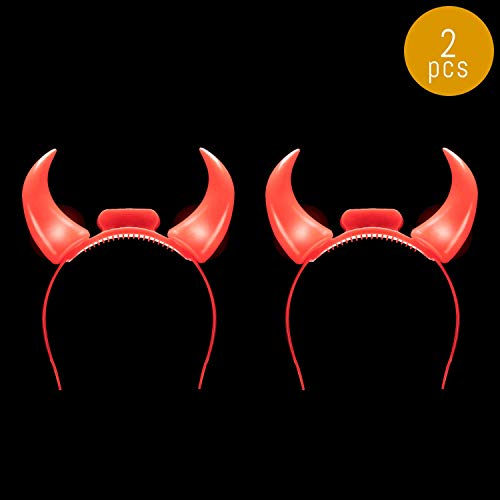 Lumistick LED Devil Horns Headband | Light up Head Boppers Glowing Bows Flashing Headwear Hairband (2 Devil Horns -