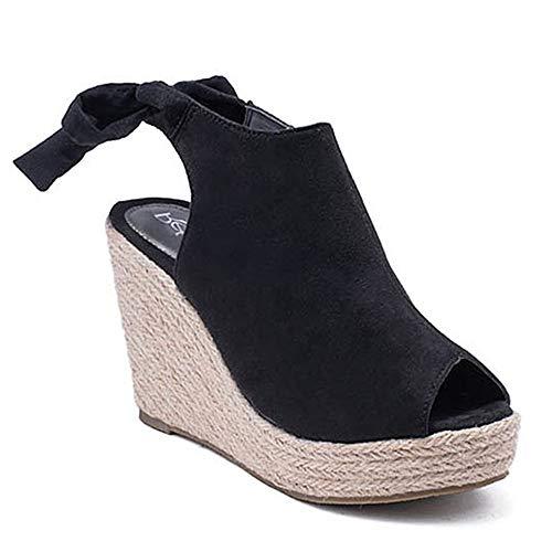 Women's Slingback Wedge Sandals Back Tie Peep Open Toe Lace Up Espadrille Platform Shoes Black 11