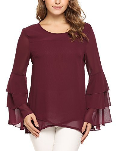 Zeagoo Women's Round Neck Ruffle Long Sleeve Chiffon Layered Blouse Wine Red S