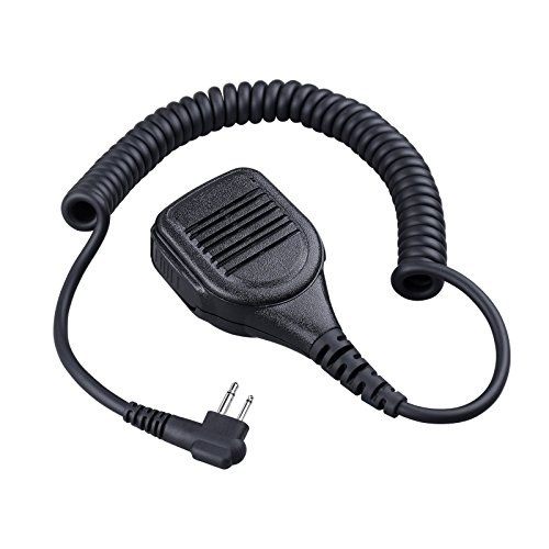 Commixc Walkie Talkie Handheld Speaker with PPT Mic, Waterproof IP55 Shoulder Microphone with External 3.5mm Earpiece Jack, Compatible with 2.5mm/3.5mm 2-Pin Motorola Two-Way Radios by COMMIXC