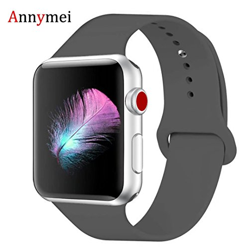 (for Apple Watch Band, Annymei Durable Soft Silicone Replacement iWatch Band Sport for Apple Watch Band Series 4 Series 3 Series 2 Series 1 Sport, Edition (Sky Grey, 42mm(44mm) S/M))