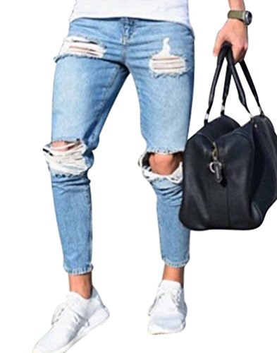Ajustados Hombre Rotos Azul Skinny Pernera Denim Jeans Recta Claro Elástico Pantalones Vaquero Slim Fit Delgado Byqny xIn1qdA1