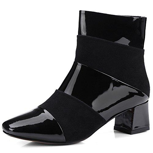 Ni Sju Patent Lær Kvinners Firkantet Tå Chunky Hæl Håndlagede Fantastisk Retro Ankel Boots Svart