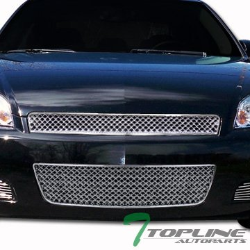 Chrome Rear Lower Cowl - Topline Autopart Chrome Luxury Sport Vip Mesh Front Upper W/Lower Grill Grille 06-13 Chevy Impala / 14-16 Limited