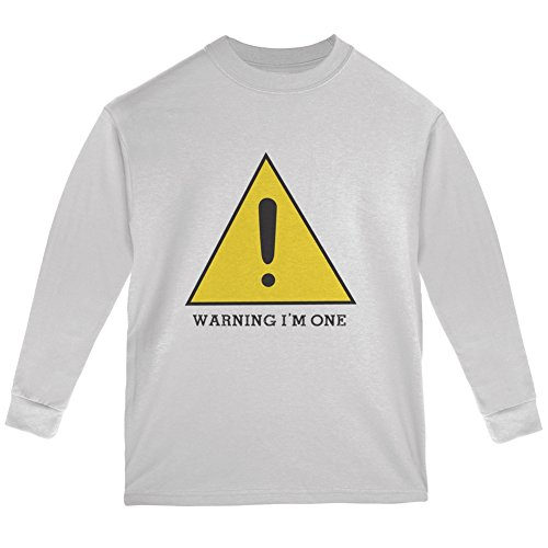 Warning Im One White Youth Long Sleeve T-Shirt - Youth Medium