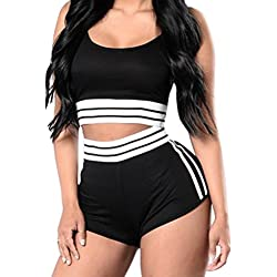 VamJump Women's 2017 Fitness Crop Tank Top and Shorts Two Piece Outfits Black