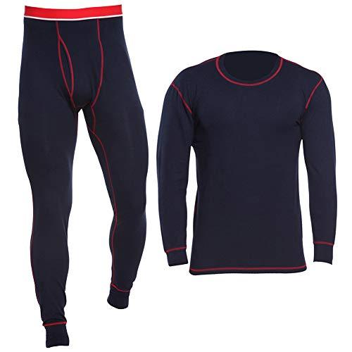 MAGNIVIT Men's Winter Thermal Underwear Set - Crew Neck Undershirts & Leggings Navy Blue