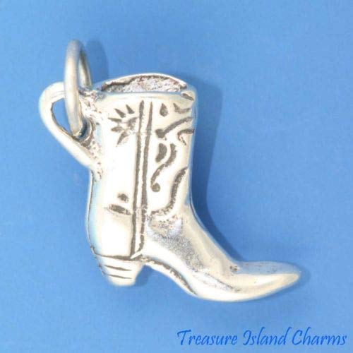 (Cowboy Cowgirl Boot Ladies 925 3D Solid Sterling Silver Charm Pendant USA Made Crafting Key Chain Bracelet Necklace Jewelry Accessories Pendants)