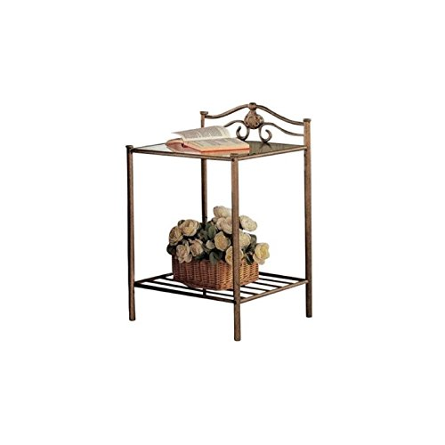 Bowery Hill Iron Nightstand with Shelf in Antique Brushed Gold by Bowery Hill