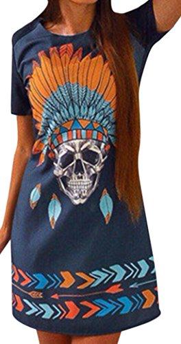 erdbeerloft - Damen Kurzes Shirtkleid mit Indianer Totenkopf Print, XS-XL, Mehrfarbig
