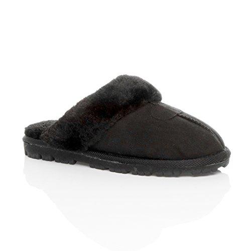 Ajvani - Zapatillas de estar por casa para mujer Black/Black Fur