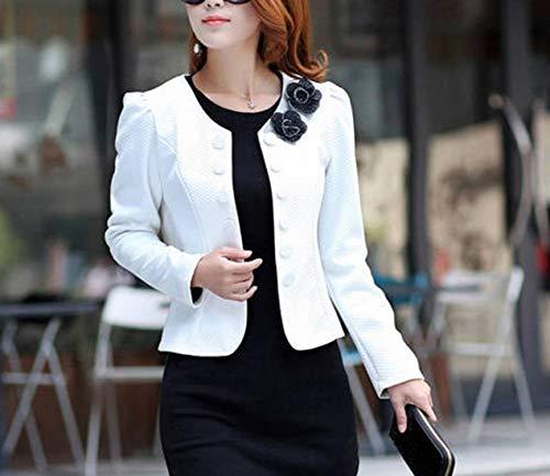 Blazer Primaverile Giubbino Business Puro Autunno Tailleur Cappotto Donna Elegante Manica Da Moda Bianca Double Giacca Lunga Slim Con Fit Breasted Colore Casual Corto Ufficio Corsetto qwPnIpg
