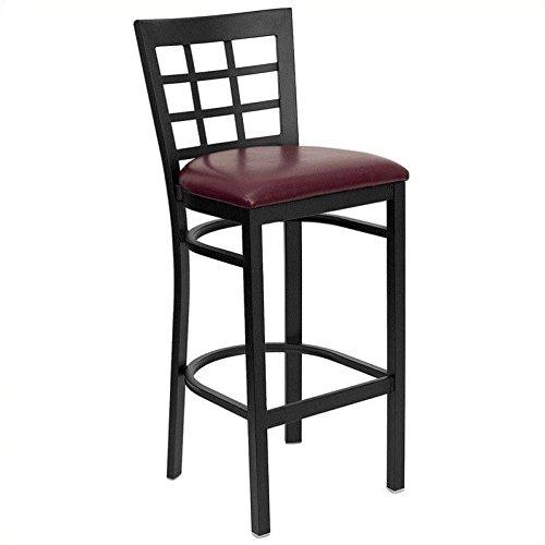 Flash Furniture HERCULES Series Black Window Back Metal Restaurant Barstool - Burgundy Vinyl Seat by Flash Furniture
