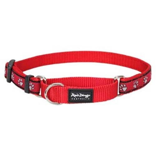 Red Dingo Pawprints Red Large Martingale Collar