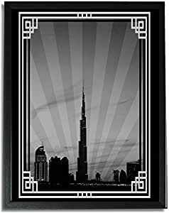 Dubai Skyline Down Town - Black And White With Silver Border No Text F09-m (a3) - Framed