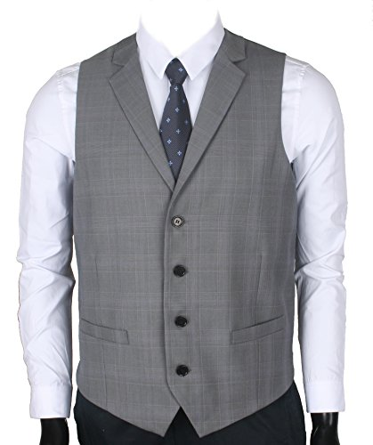 Ruth&Boaz Men's 2Pockets 4Buttons Business Tailored Collar Suit Vest (S,