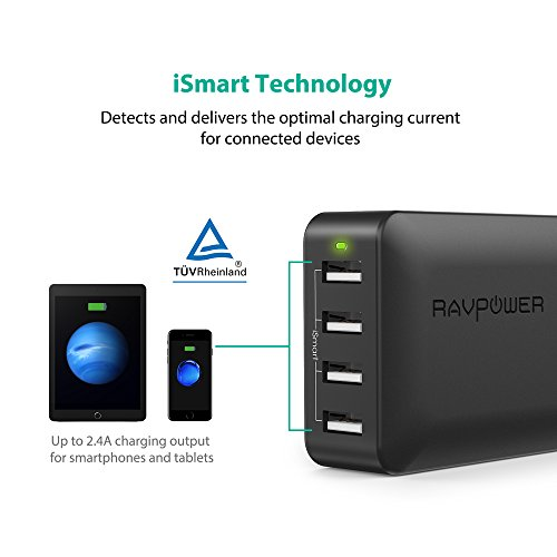lovely RAVPower 40W 8A 4-Port USB Charger Charging Station with iSmart Technology (Black)