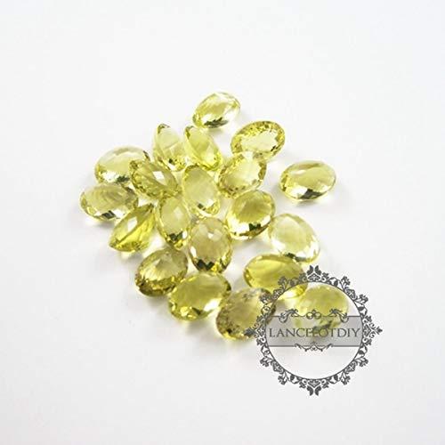 (Calvas 14x10mm Oval Faceted Cut Natural Lemon Quartz semi Precious Loose Stone DIY Ring,Earrings Charm cabochon)