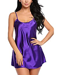 Avidlove Women's Pajamas Satin Nightgown Mini Slip Sleepwear