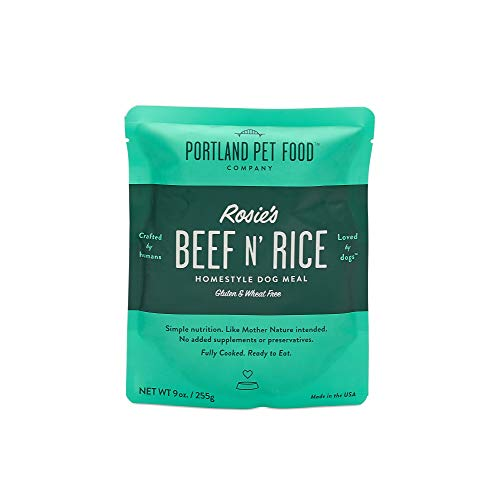Portland Pet Food Company Rosie's Beef N' Rice All Natural, Homestyle Dog Meal, Fully Cooked Microwavable Meal Pouches, Gluten & Wheat Free, USA Made, 4 Pack (4 x 9oz)