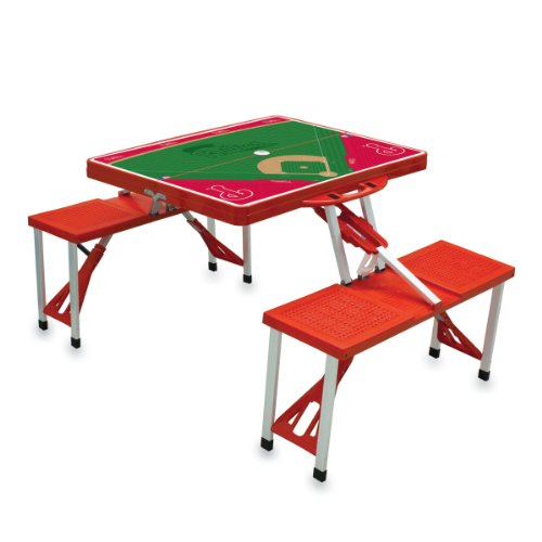 (MLB Philadelphia Phillies Baseball Field Design Portable Folding Table and Seats, Red)