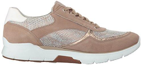 Mephisto Sano Femmes Chaussures De Marche Volodia Gris Foncé Bucksoft / Chameau Savane / Platine Glaçon / Blanc Lisse