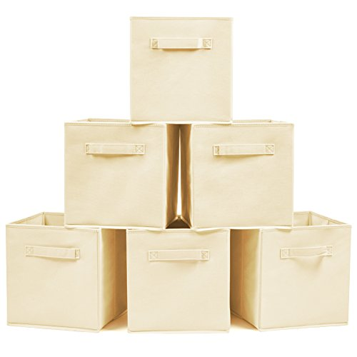 Set of 6 Foldable Fabric Basket Bin- EZOWare Collapsible Storage Cube For Nursery Home and Office - Beige - 6 Drawer Cd Cabinet