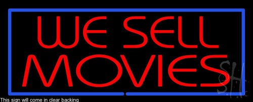 We Sell Movies Clear Backing Neon Sign 13'' Tall x 32'' Wide by The Sign Store