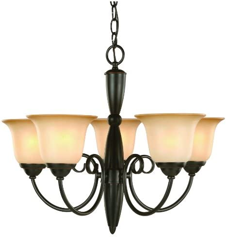 Hardware House Essex Series 5 Light Oil Rubbed Bronze 21 Inch by 18 Inch Chandelier Ceiling Lighting Fixture 16-3590