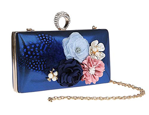 18 Bag Purple Party Shoulder Flower PVC Bag with Shape Women Ring Buckle and Magnetic Ladies Handbag EDLUX Evening 12cm Blue 4 for Banquet xSEfOn