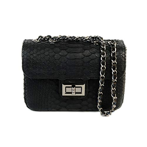 Python leather cross body bag | snakeskin bag | small crossbody bag | small leather bag | snakeskin purse | small sling bag | small shoulder bag (Onyx)