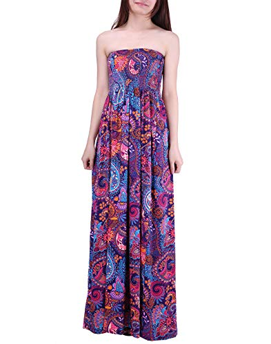 HDE Women's Strapless Maxi Dress Plus Size Tube Top Long Skirt Sundress Cover Up (Purple Paisley, Large)
