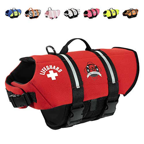 (Paws Aboard Dog Life Jacket,  Neoprene Dog Life Vest for Swimming and Boating - Red)