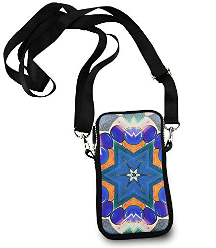 Roomy Pockets Series circus kaleidoscope flowers floral Small Crossbody Bag Cell Phone Purse Wallet For Women Girls