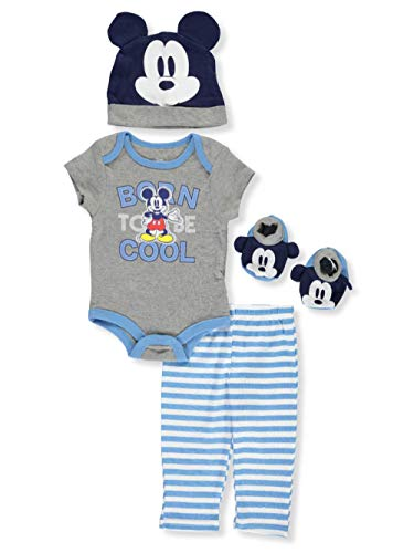 Disney Mickey Mouse Baby Boys' 4-Piece Layette Set - Gray Multi, 3-6 Months