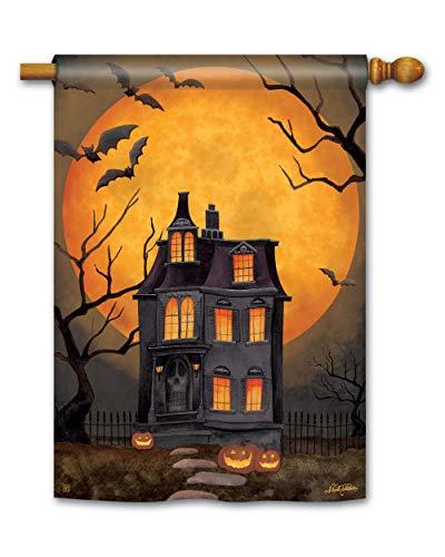 BreezeArt Studio M Dark Manor Fall Halloween Standard House Flag Banner - Premium Quality, 28 x 40 Inches ()