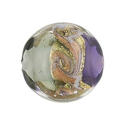 20 of plum 10mm foil round handmade lampwork glass beads