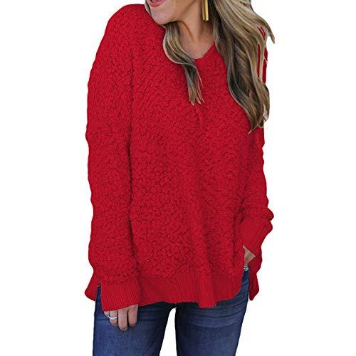 Riojay Sherpa Fleece Hoodie Women Hooded Sweatshirt Solid Long Sleeve Pullover Sweater Size S (red)