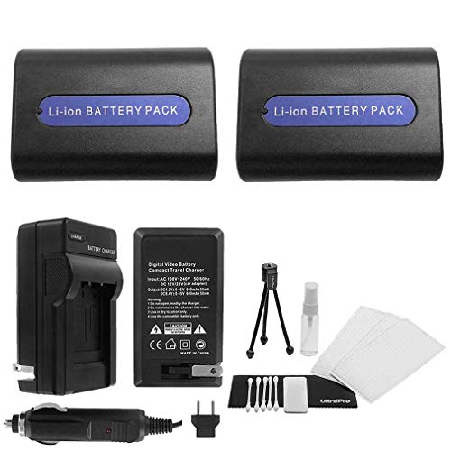 (2-Pack NP-FH50 High-Capacity Replacement Batteries with Rapid Travel Charger for Select Sony Camcorders. UltraPro Bundle Includes: Camera Cleaning Kit, Screen Protector, Mini Travel Tripod)