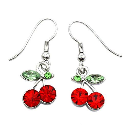 Green Leaf Red Fruit Cherry Dangle Earrings Red Green Rhinestones Fashion (Dangling Cherry)