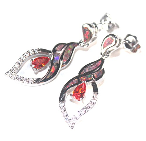 SilverstoneTX SILVER Elegant Orange Fire Opal & Orange Red Garnet Long Stud Earrings