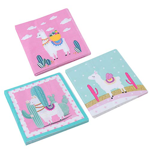 60 Pack Decorative Dinner Napkins Llama Fun Bohemian Cactus Alpaca Paper Party Napkins Perfect for Llama Fiesta Baby Shower or Birthday Party Decorations ()