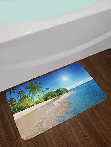 Ambesonne Blue Bath Mat, Ocean Tropical Palm Trees on Sunny Island Beach Scene Panoramic View Picture, Plush Bathroom Decor Mat with Non Slip Backing, 29.5 W X 17.5 L Inches, Blue Green and White