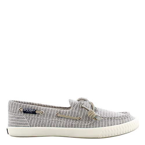 SPERRY Women's Sayel Away Pin Stripe Sneaker, Grey/White, 6