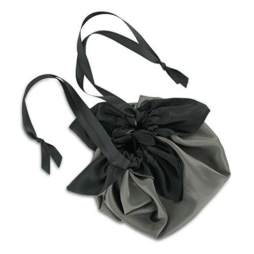 Sial Inda: Pompadour Borsa Perla, colore: grigio perla/nero, Satin. Borsa a sacco donna trenino Bustina. Con confezione regalo. Made In Germany.