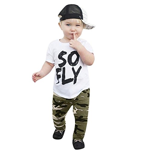 SMALLE◕‿◕ Clearance,2Pcs Toddler Kids Baby Boys Camouflage T-Shirt Tops+Pants Outfits Clothes Set -
