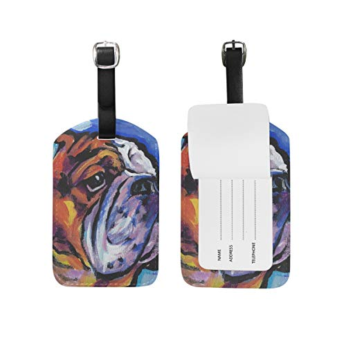 Travel English Bulldog Leather Luggage Tags with Black Strap, Set of 1