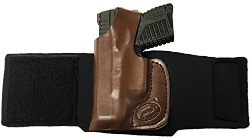 Holster Series Pro Ankle (GLOCK 26, 27, 33 W/ DEFENDER SERIES LASER Pro Carry Ankle Holster Left Hand Brown Leather & Neoprene Gun Holster)