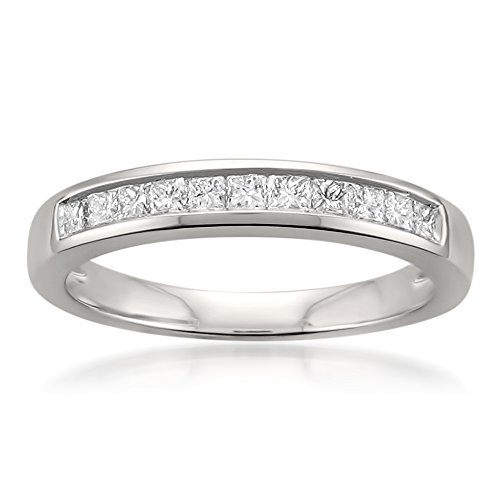 - La4ve Diamonds Platinum Princess-cut Diamond Bridal Wedding Band Ring (1/2 cttw, H-I, VS2-SI1), Size 7